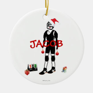 Ornement Rond En Céramique Bande dessinée de lutte de Noël