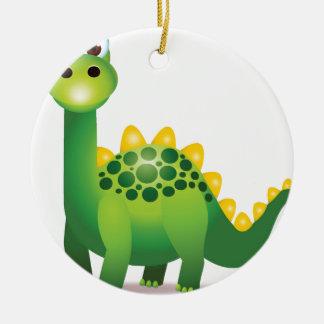 Ornement Rond En Céramique Bande dessinée mignonne de dinosaure vert