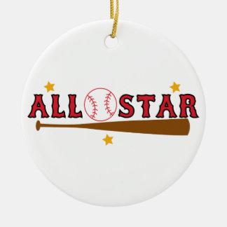 Ornement Rond En Céramique Base-ball All Star