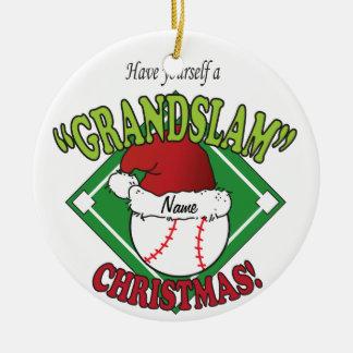 Ornement Rond En Céramique Base-ball de Grand Chelem de Noël