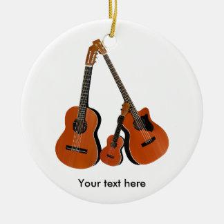 Ornement Rond En Céramique Basse acoustique et ukulélé de guitare folklorique