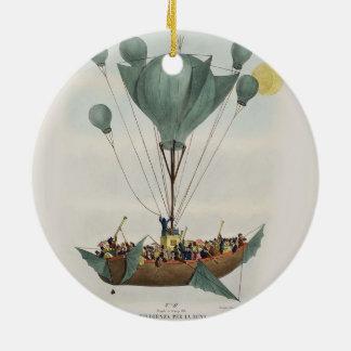 Ornement Rond En Céramique Bateau de ballon de Steampunk