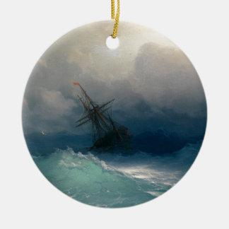 Ornement Rond En Céramique Bateau sur les mers orageuses, Ivan Aivazovsky -