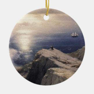 Ornement Rond En Céramique Bateau vintage de l'eau d'Ivan Aivazovsky peignant