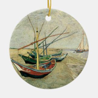 Ornement Rond En Céramique Bateaux de pêche sur la plage par Vincent van Gogh