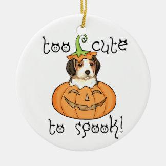 Ornement Rond En Céramique Beagle de Halloween