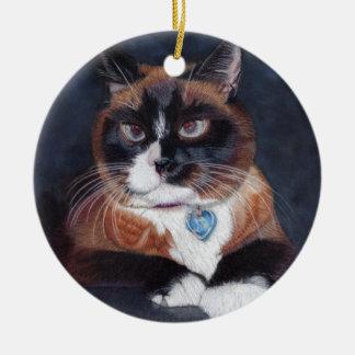 Ornement Rond En Céramique Beau chat