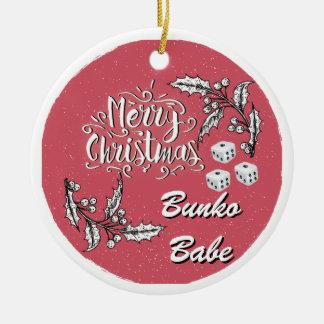 Ornement Rond En Céramique Bébé de Bunko de Joyeux Noël