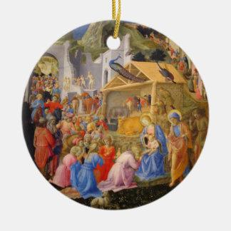 Ornement Rond En Céramique Bébé Jésus Joseph de Vierge Marie des Rois de
