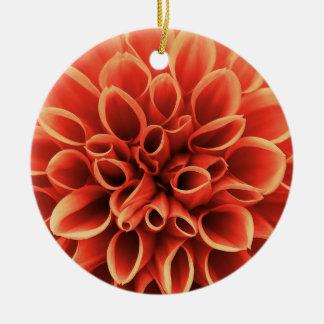 Ornement Rond En Céramique Belle fleur orange de dahlia