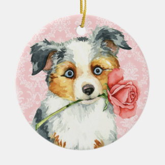 Ornement Rond En Céramique Berger américain de rose de Valentine mini