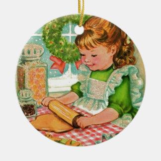 Ornement Rond En Céramique biscuits vintages de cuisson de fille de Noël des