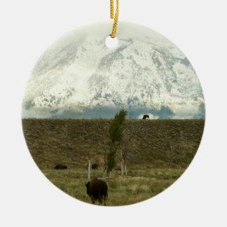 Ornement Rond En Céramique Bison à la photographie grande de parc national de