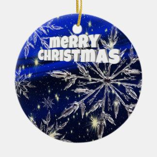 Ornement Rond En Céramique Bleu de Joyeux Noël