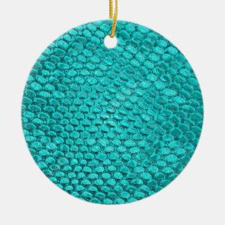Ornement Rond En Céramique Bleu de turquoise de reptile