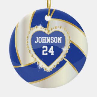 Ornement Rond En Céramique Bleu-foncé élégant, blanc et volleyball d'or