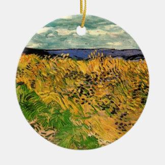 Ornement Rond En Céramique Bleuets de champ de blé de Van Gogh, beaux-arts