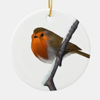 Ornement Rond En Céramique Bob l'ornement rouge d'arbre de Noël de Robin