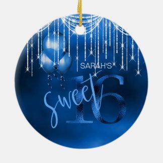 Ornement Rond En Céramique Bonbon 16 DK ID473 bleu à lumières et à ballons de