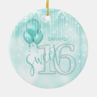 Ornement Rond En Céramique Bonbon 16 ID473 turquoise à lumières et à ballons
