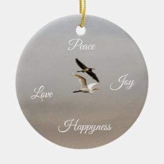 Ornement Rond En Céramique Bonheur d'amour de joie de paix de photo d'oiseaux