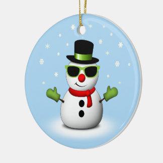 Ornement Rond En Céramique Bonhomme de neige frais avec les nuances et le