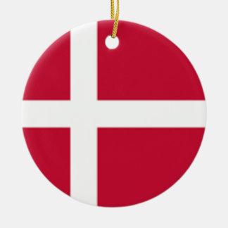 Ornement Rond En Céramique Bonne copie de drapeau du Danemark de couleur