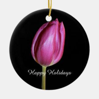 Ornement Rond En Céramique Bonnes fêtes photos florales de fleurs roses de