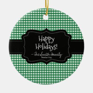 Ornement Rond En Céramique Bonnes fêtes. Rayures noires d'insigne et de Noël