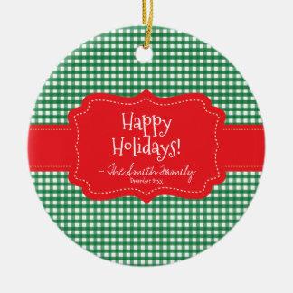 Ornement Rond En Céramique Bonnes fêtes. Rayures rouges d'insigne et de Noël