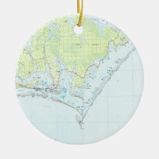 Ornement Rond En Céramique Bord de la mer de surveillance de cap et carte