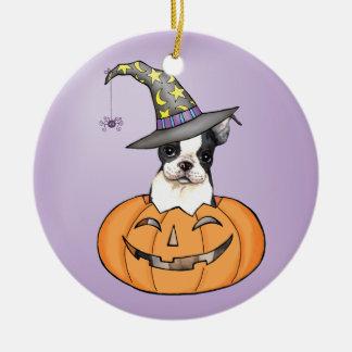 Ornement Rond En Céramique Boston Terrier Halloween