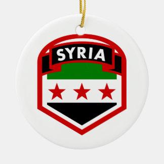Ornement Rond En Céramique Bouclier de crête de drapeau de la Syrie