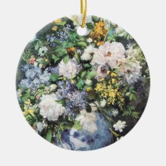 Ornement Rond En Céramique Bouquet de ressort par Pierre Renoir, fleurs