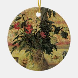 Ornement Rond En Céramique Bouquet vintage d'impressionisme des fleurs par