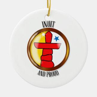 Ornement Rond En Céramique Bouton fier de drapeau d'Inuit