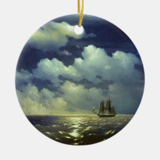 Ornement Rond En Céramique Brig Mercury après la victoire sur les bateaux