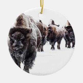 Ornement Rond En Céramique Buffalo
