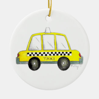 Ornement Rond En Céramique Cadeau Checkered jaune de cabine du taxi NYC New