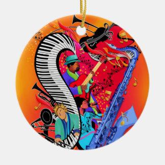Ornement Rond En Céramique Cadeau coloré d'ornement d'art de musique de jazz