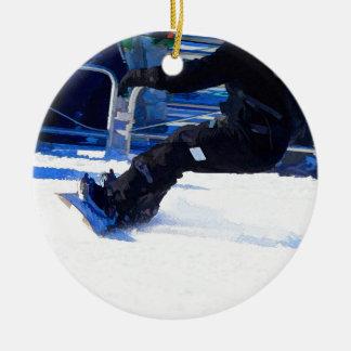 Ornement Rond En Céramique Cadeau de ensabotage de sports d'hiver de surfeur