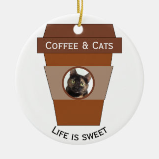 Ornement Rond En Céramique Café et chats personnalisables - la vie est douce