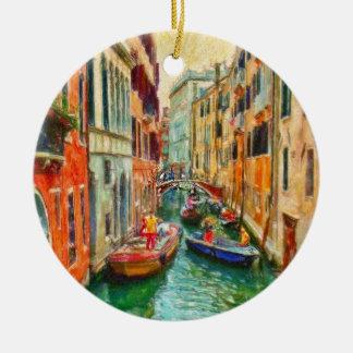 Ornement Rond En Céramique Canal vénitien Venise Italie