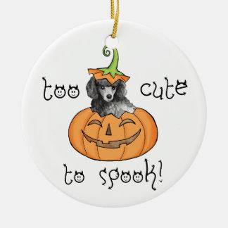 Ornement Rond En Céramique Caniche miniature de Halloween