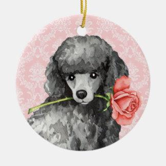 Ornement Rond En Céramique Caniche miniature de rose de Valentine