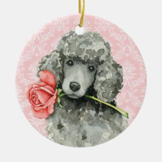 Ornement Rond En Céramique Caniche standard de rose de Valentine