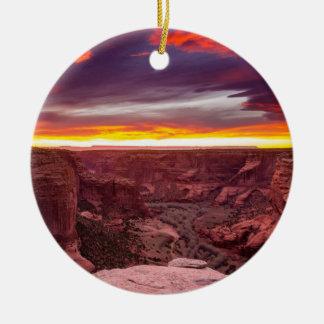 Ornement Rond En Céramique Canyon de Chelly, coucher du soleil, Arizona