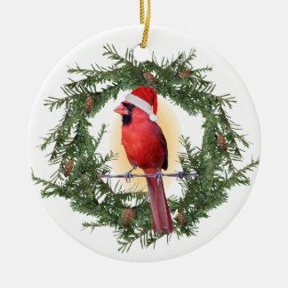 Ornement Rond En Céramique Cardinal de Noël