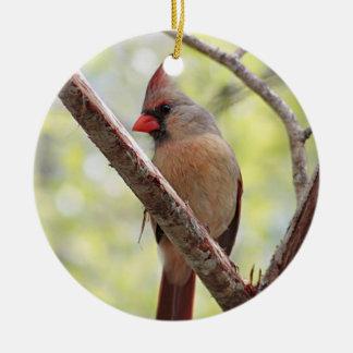 Ornement Rond En Céramique Cardinal du nord
