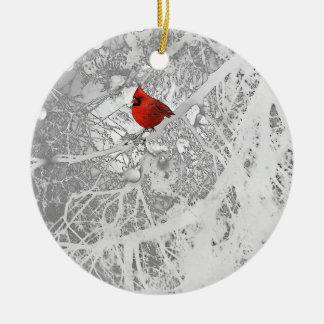 Ornement Rond En Céramique Cardinal en hiver